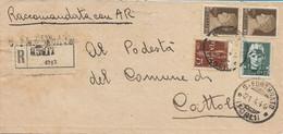 ITALIA - RSI - RACCOMANDATA DA FORLI' A CATTOLICA CON IMPERIALE E POSTA AEREA - 21.04.1944 - M104 - Marcofilía