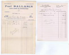 AUDE - SAINT-ANDRE-de-ROQUELONGUE - Paul BALLARIN - 2 Papiers - 1900 – 1949