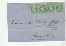 """Lettre Avec Classiques De France: 2 Paires De 5c Du Napoléon N°20, Avec Cachet Ambulant De Jour """"Marseille- Lyon"""", 1869 - 1862 Napoleone III"""