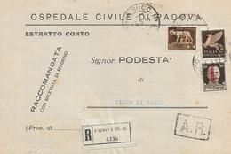 RSI - RACCOMANDATA DA PADOVA A PIOVE DI SACCO CON AFFRANCATURA MISTA 16.03.1944 -  E18 - Marcofilía