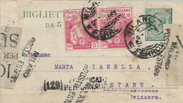 REGNO - WW1 BIGLIETTO POSTALE 5c LEONI CON AGGIUNTIVI COPPIA 10+5c CROCE ROSSA PER LA SVIZZERA 1917 - M109 - Marcofilie