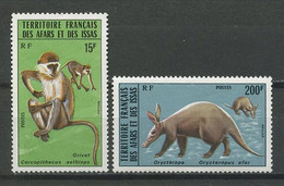 AFARS ISSAS 1975 N° 408/409 ** Neufs MNH Superbes C 16 € Faune Singes Orictérope Animaux Animals - Nuovi