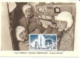 ESPACE FRANCE 1973 LE BOURGET SALON AERONAUTIQUE CARTE V PASSAIEV  G DOBROVOLSKI  V VOLKOV - Europe