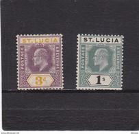 SAINTE LUCIE 1902 EDOUARD VII Yvert 44-45 NEUF* Cote : 25 Euros - Ste Lucie (...-1978)
