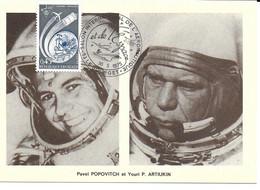 ESPACE FRANCE 1975 LE BOURGET SALON AERONAUTIQUE CARTE PAVEL POPOVITCH Et YOURI P. ARTIUKIN - Europe