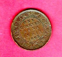 INDIA, 1905, 0,25 Anna, Edward VII, Copper, KM501, C 824 - India