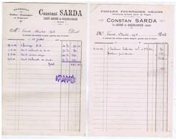 AUDE - St-ANDRE-de-ROQUELONGUE - Constant SARDA - Pailles - Fourrages - Grains - Produits Pour La Vigne - 2 Papiers - Altri