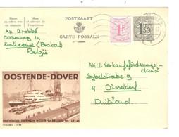 REF4703/ Entier CP Publibel 1646  Oostende - Dover C.St.Truiden 1967 > Düsseldorf Deutschland - Publibels