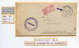 DARMSTADT 1, 1946, AMERIK.ZONE, BRIEF MIT INHALT, ROTER R2 GEBÜHR BEZAHLT - American,British And Russian Zone