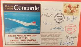 CONCORE LONDON-TAMPA-LONDON SIGNED CAPTAIN AND CREW 1985-SCARCE - Concorde