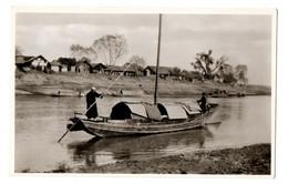 1920s CHINE Resa & Husband On Sampan / Boat Swedish Church Mission PHOTO Postcard Cpa China Sweden River Missionary - Cina
