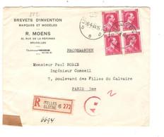 REF4708/ TP 528 (Bloc De 4) S/L.R.Moens Brevets D'Invention S/L.Recommandée C. Ixelles 26/4/44 Censure Ax Bande & Cachet - Lettere