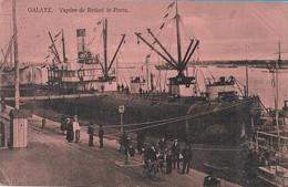 OLD POSTCARD - ROMANIA - GALATZ - VAPORE DE RESBOI IN PORTU - ANIMATA , VIAGGIATA 1913 - M148 - Roemenië