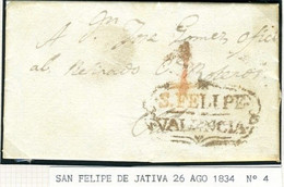 ESPAÑA Carta De ENGUERA  Marca SN FELIPE VALENCIA 1834    PR62 - ...-1850 Voorfilatelie