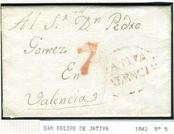 ESPAÑA Carta De ENGUEXA  Marca  JATIVA /  VALENCIA 1842 Hasta  VALENCIA     PR63 - ...-1850 Voorfilatelie