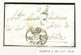 ESPAÑA Carta De VALENCIA  1817 Hasta  JATIVA   PR64 - ...-1850 Voorfilatelie