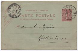 Entier Postal 10c Semeuse Lignée Oblitération Cachet A4 AJACCIO CORSE > Facteur Boîtier GATTI DI VIVARIO 1905 - Lettres & Documents