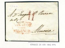 ESPAÑA Carta De VINAROZ / VALENCIA  1843 Hasta  ALMERIA   PR65 - ...-1850 Voorfilatelie