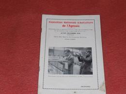 EXPOSITION AGEN AVICULTURE COLOMBICULTURE CUNICULTURE 1974. PALMARES - Programs