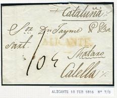 ESPAÑA Carta Con Texto De  ALICANTE  1816  Hasta  CALELLA   PR66 - ...-1850 Voorfilatelie