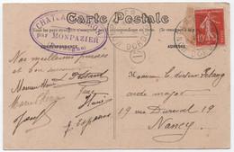 Rare Boîte Rurale B Château De BIRON Dordogne Timbre à Date MONPAZIER 1910 Oblitération / 10c Semeuse - 1877-1920: Période Semi Moderne