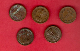 INDIA, 1957, Lot Of 5 Coins , 1 Naya Paise, Bronze, KM8a, C866 - India