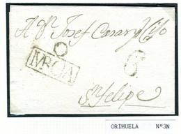 ESPAÑA  Carta De ORIHUELA  MURCIA  Con Marca O/ MRCIA  Hasta  S FELIPE PR71 - ...-1850 Voorfilatelie