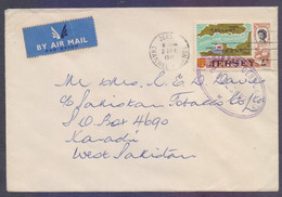 JERSEY Postal History Censored Cover On English Channel Map, Postal Used 3.12.1971 With PAKISTAN CENSORSHIP Marking Kara - Jersey