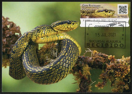 COSTA RICA (2021) Carte Maximum Card ATM - Víbora De Montaña (Bothriechis Nigroviridis) - Speckled Palm Viper, Serpiente - Costa Rica
