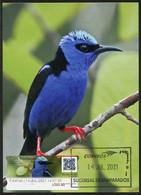 COSTA RICA (2021) Carte Maximum Card ATM - Mielero Patirrojo (Cyanerpes Cyaneus) - Red-legged Honeycreeper, Colibrí - Costa Rica