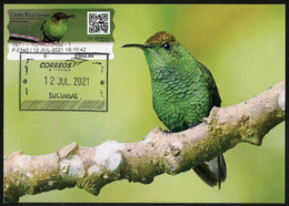 COSTA RICA (2021) Carte Maximum Card ATM - Esmeralda De Coronilla Cobriza (Elvira Cupreiceps) - Coppery-headed Emerald - Costa Rica