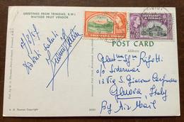 TRINIDAD & TOBAGO - WAYSIDE FRUIT VENDOR  - POST CARD  With 8+123 Cents Per GENOVA IN DATA 17/8/57 - Monde