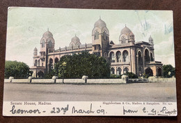 INDIA - SENATE HOUSE ,MADRAS - POST CARD FROM COONOOR 7 AP 09 + ENGLISH POST OFFICE BOMBAY-ADEN  - TO FLORENCE - Monde