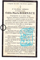 DP Institutrice Communale De Gougnies Gerpinnes - Odile Marie Biernaux ° 1858 † Serinchamps Ciney 1927 - Devotion Images