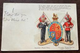 SEAMAN,ROYAL NAVY ROYAL MARINE LIGT INFANTRY  SUPERB EARLY CHROMO POST CARD  A DONNA ANNA MARIA BORGHESE 1900 - Monde