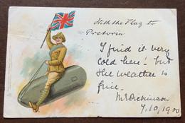 PROIETTILE CON GENERALE E ENGLISH FLAG   SUPERB EARLY CHROMO POST CARD  A DONNA ANNA MARIA BORGHESE 7/10/1900 - Monde