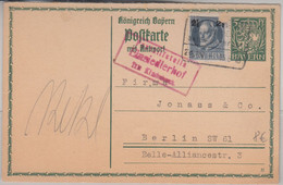 Bayern - Einsiedlerhof T. Kindsbach Roter Posthilfstellen-Ra3 Ganzsache 1916 - Bavaria