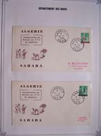 ALGERIE 25-1-1963 Département Des Oasis X 2  Inauguration Du Bureau De PTT De LAGHOUAT Surchage EA Rouge Et EA Noir - Algeria (1962-...)