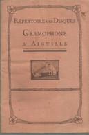 JP / Revue CATALOGUE Répertoire DISQUE GRAMOPHONE à AIGUILLE Chant Orchestre ARTISTE COMEDIEN Chanteur Théâtre Opéra - Musik