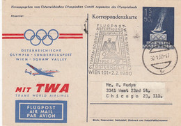 Österreich Postkarte Olympiade 1960 - 1945-60 Brieven