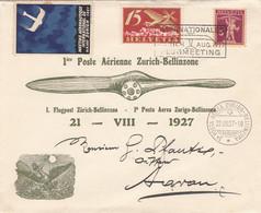 Schweiz First Flight Brief 1927 - Cartas