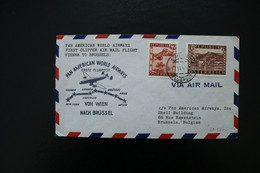Austria Pan American FFC Vienna To Brussels First Flight Cover 1946 A04s - 1945-60 Brieven