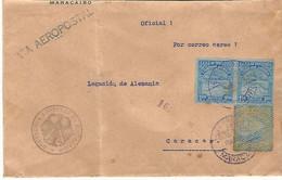 1932.- VENEZUELA. CARTA DE MARACAIBO A ACARACAS. AÉREA.POR EL CONSULADO ALEMÁN DE MARACAIBO. TAMPÓN MORADO - Venezuela