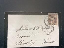 @ ENVELOPPE Paix Et Commerce  SAGE 20c BELFORT>PORRENTRUY  Suisse 1878 - 1877-1920: Semi Modern Period