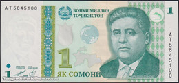 TWN - TAJIKISTAN 14A - 1 Somoni 1999 Prefix AT - Vignette With UV Activity UNC - Tajikistan
