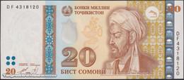 TWN - TAJIKISTAN 17a2 - 20 Somoni 1999 Prefix DF - Vignette With UV Activity - Serial Numbers With UV Activity UNC - Tajikistan