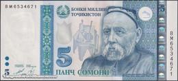 TWN - TAJIKISTAN 23 - 5 Somoni 1999 (2013) Prefix BM UNC - Tajikistan