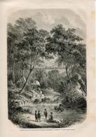 1862 Print Kalimantan Borneo Indonesia Malaysia Dayaki Bamboo Bridge Landscape - Prints & Engravings
