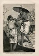 1862 Print Kalimantan Borneo Indonesia Malaysia Dayaki Girl Nude Mom Fashion Costume - Prints & Engravings