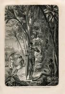 1862 Print Kalimantan Borneo Indonesia Malaysia Dayaki Warrior Weapon  Fashion Costume - Prints & Engravings